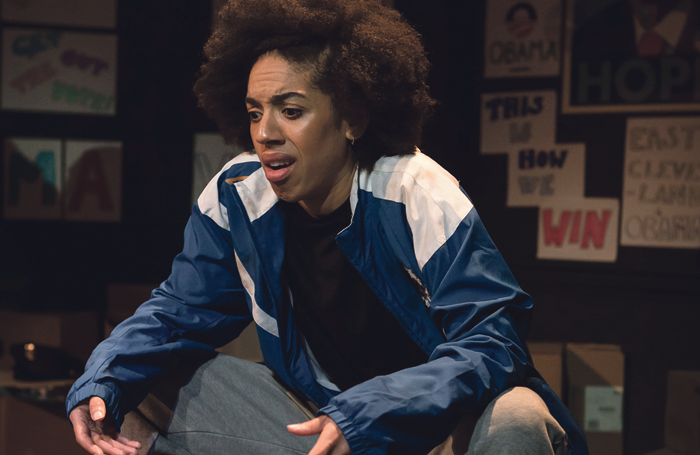Mackie in the European premiere of Obama-ology at London's Finborough Theatre in 2014. Photo: Scott Rylander