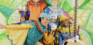 Griff Fender, Katherine Gray, Deanne Jones and Kadialy Kouyate in Hush-A-Bye by Oily Cart. Photo: Suzi Corker