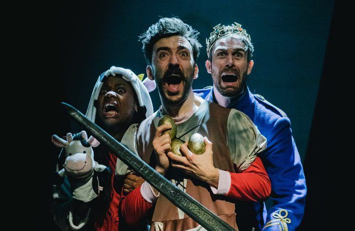 Dami Olukoya, Tom Gordon, and Adam Robertson in Cinderella and the Beanstalk at Old Market, Hove