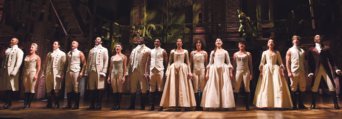 The full cast of the Hamilton's Broadway production. Photo: Joan Marcus