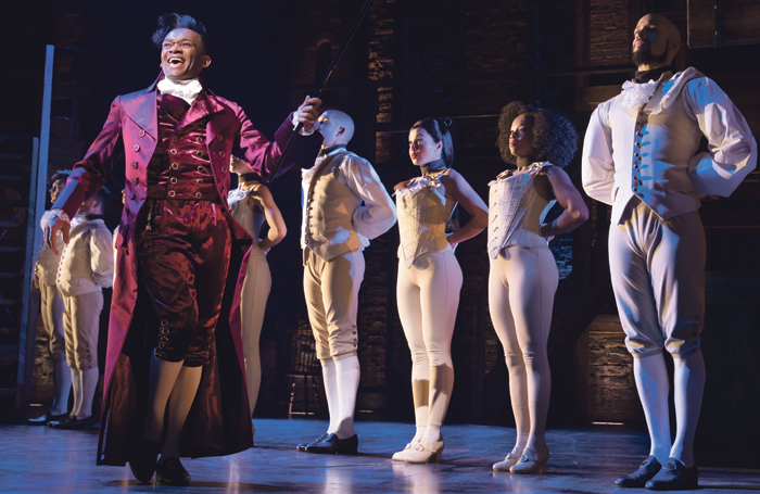 Jason Pennycooke and the West End cast of Hamilton. Photo: Matthew Murphy