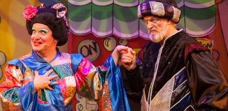 Mark Siney and Clive Mantel in Aladdin at Ferneham Hall