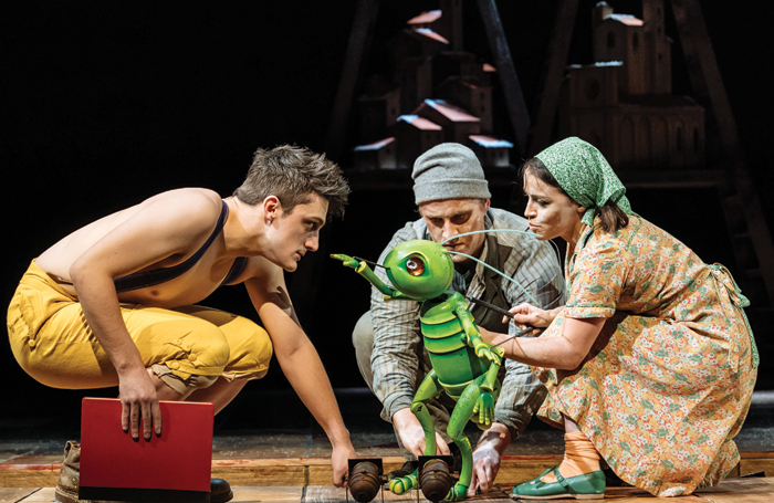 Joe Idris Roberts, James Charltonin and Audrey Brisson in Pinocchio. Photo: Manuel Harlan