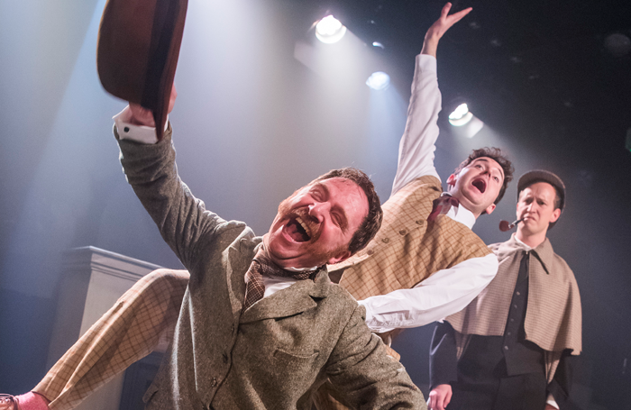 Simon Kane, Shaun Chambers and Max Hutchinson in The Hound Of The Baskervilles. Photo: Tristram Kenton