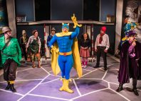 The cast of Bananaman the Musical at Southwark Playhouse, London. Photo: Pamela Raith