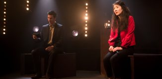 Timothy Knightley and Elizabeth Chan in Into the Numbers at Finborough Theatre, London. Photo: Scott Rylander