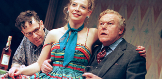 Steven Pacey, Lisa Dulson and Timothy West in a production of The Birthday Party at the Piccadilly Theatre in 1999. Photo: Tristram Kenton
