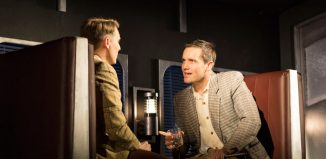 Christopher Harper and Jack Ashton in Strangers on a Train at Theatre Royal Brighton. Photo: Helen Maybanks