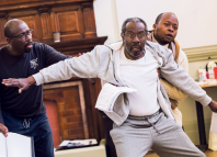 Trevor Laird, Tyrone Huggins and Tonderai Munyevu in rehearsal for Black Men Walking. Photo: Tristram Kenton