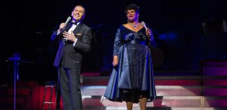 Garrett Phillips and Nicola Emmanuelle in The Rat Pack - Live from las Vegas at Theatre Royal Haymarket, London. Photo: Betty Zapata