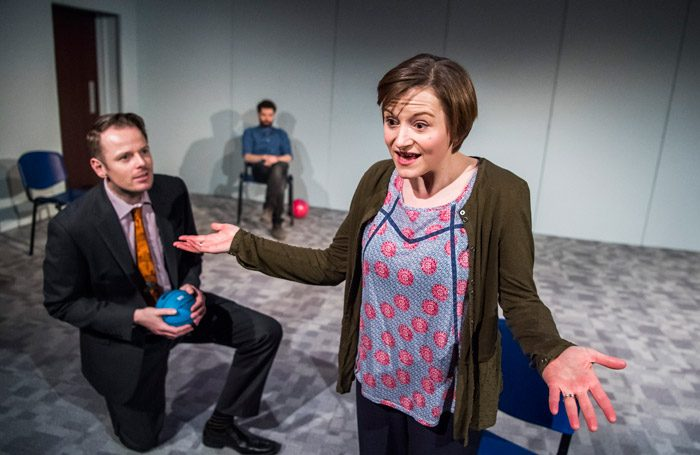 Simon Darwen, Andy Rush and Becci Gemmell in The Here and This and Now at Southwark Playhouse, London. Photo: Tristram Kenton