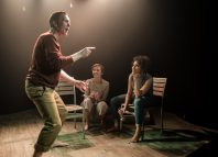 Niall Bishop, Tanya Fear and Eva Jane-Willis in Tiny Dynamite at the Old Red Lion, London. Photo: Richard Davenport