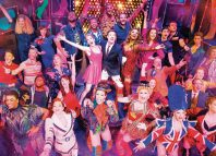 The cast of Kinky Boots at the show's 1000th performance at London's Adelphie Theatre. Photo: Matt Crockett