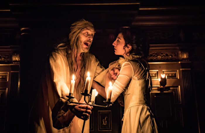 Nigel Cooke and Ellora Torchia in All's Well That Ends Well at Sam Wanamaker Playhouse, London. Photo: Marc Brenner