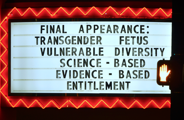 The signage at the Garde Arts Center. Photo: A Vincent Scarano