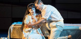 Anne Sophie Duprels as and Merunas Vitulskis in Opera North's Madama Butterfly. Photo: Richard H Smith