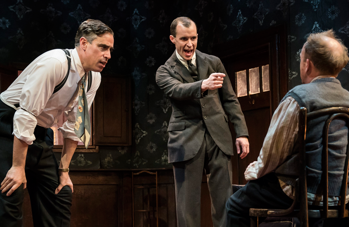 Stephen Mangan, Tom Vaughan-Lawlor and Toby Jones in The Birthday Party. Photo: Johan Persson