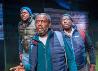 Tonderai Munyevu, Tyrone Huggins and Trevor Laird in Black Men Walking at Royal Exchange Theatre, Manchester. Photo: Tristram Kenton