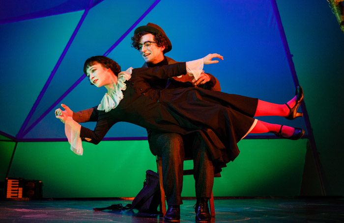 Daisy Maywood and Marc Antolin in The Flying Lovers of Vitebsk at Wilton's Music Hall, London