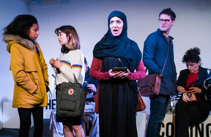 The cast of The Words Are Coming Now at Theatre503, London. Photo: Tristram Kenton