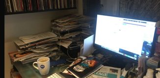 Mark Shenton's desk. Photo: Mark Shenton