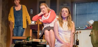 Lucianne McEvoy Deirdre Davis and Sinead Sharkey in Bold Girls at Citizens Theatre, Glasgow. Photo: Tim Morozzo