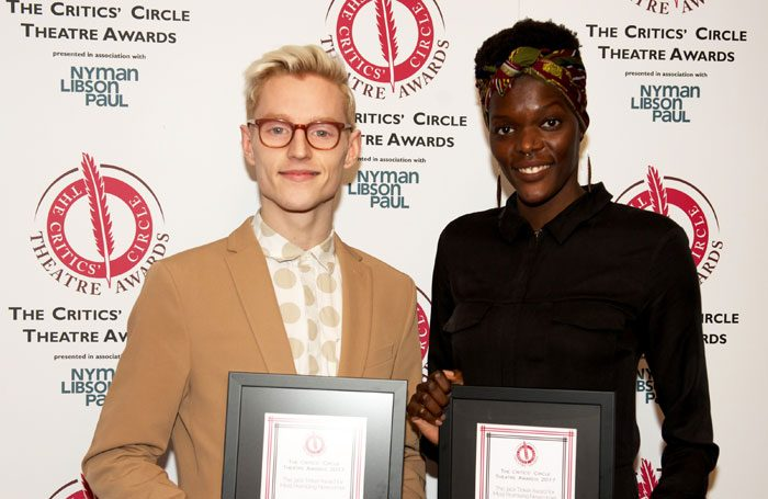 Sheila Atim with John McCrea, winners of the Critics' Circle Theatre Awards. Photo: Peter Jones