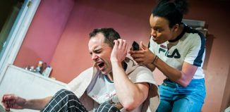 Joseph Thompson and Leah Harvey in Yous Two at Hampstead Theatre Downstairs, London. Photo: Tristram Kenton