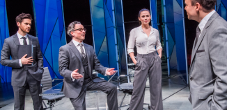 Tom Riley, Aidan McArdle, Hayley Atwell and Joseph Balderrama in Dry Powder at Hampstead Theatre. Photo: Tristram Kenton