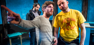 Joseph Chance, Oliver Bennett and Bradley Taylor in Booby's Bay at the Finborough Theatre. Photo: Tristram Kenton