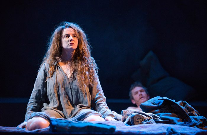Jessica Hardwick and Michael Moreland in Knives in Hens at Perth Theatre. Photo: Tommy Ga-Ken Wan