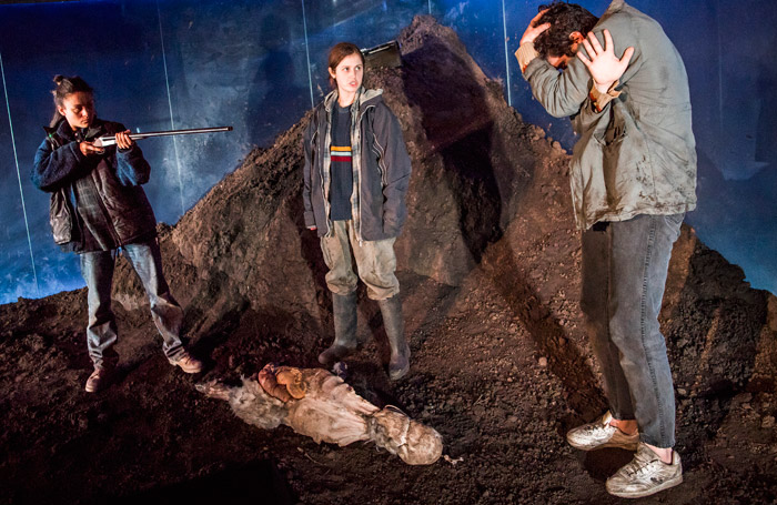 Rochenda Sandall, Ria Zmitrowicz and Alec Secareanu in Gundog at Royal Court, London. Photo: Tristram Kenton