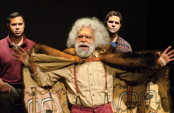 Bjorn Stewart, Jack Charles and Matthew Cooper in Coranderrk: We Will Show the Country (2013). Photo: Patrick Boland