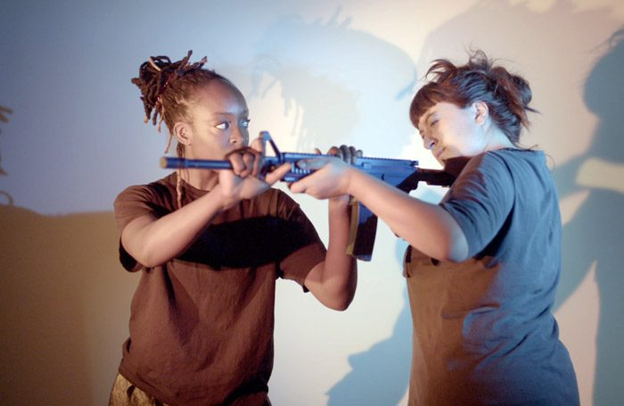 Amarnah Amuludun and Ellice Stevens in The Drill at Battersea Arts Centre, London. Photo: Dorothy Allen