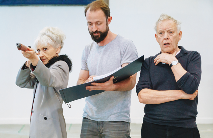 Anita Dobson, Samuel Hodges (director) and Hilton McRae in rehearsals for The Shadow Factory. Photo: Manuel Harlan