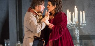 Hector Sandoval and Claire Rutter in Welsh National Opera's Tosca. Photo: Richard Hubert Smith