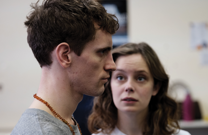Jacob James Beswick and Sarah Middleton in Brighton Rock rehearsals. Photo: Ben Pugh