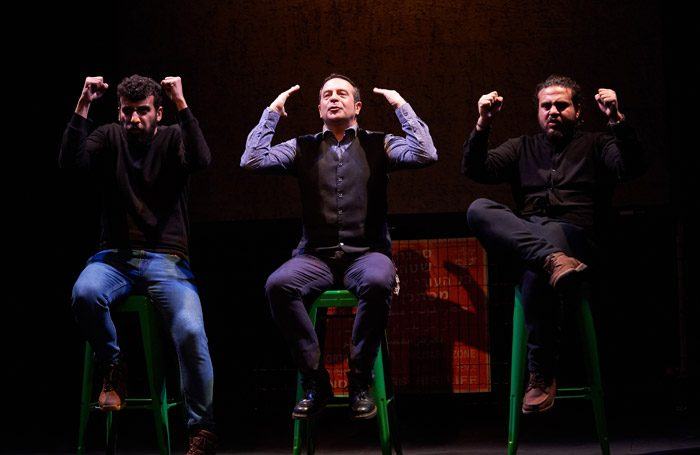 The cast of Showtime from the Frontline at Traverse Theatre, Edinburgh. Photo: Steve Ullathorne