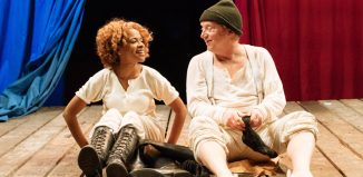 Ayesha Antoine and Paul Hunter in Napoleon Disrobed at Arcola Theatre, London. Photo: Manuel Harlan