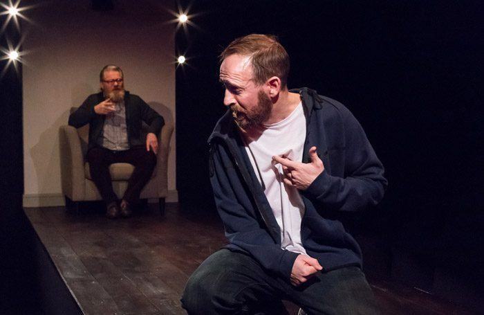 Brendan Charleson and Stevie Raine in A Number at the Other Room, Cardiff. Photo: Kieran Cudlip