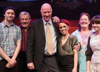 John Blackmore pictured in 2012 with the cast of The Rise and Fall of Little Voice at Octagon Theatre Bolton. Photo: K Shipley