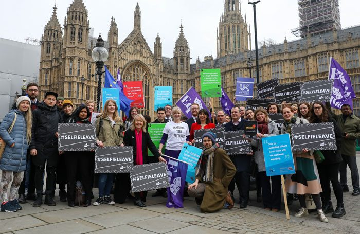 Tracy Brabin (centre) outside parliament to support the Shared Parental Leave and Pay (Extension) Bill. Photo Blake Ezra
