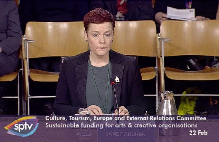 Creative Scotland chief executive Janet Archer spoke at an evidence session at the Scottish Parliament's culture committee