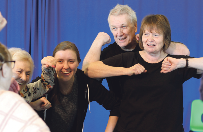 Manchester Royal Exchange Theatre's Elder Company rehearsing Moments That Changed Our World. Above, left to right: performers Brenda Hickey, Glyn Treharpne and Jacquie Long with assistant producer Brogan Campbell (second left).