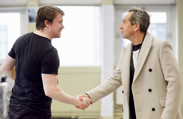 Jonathan Hyde with Daniel Rigby with Hyde in rehearsal for Frost/Nixon. Photo: Mark Douet