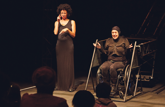 Performance of Not I at Battersea Arts Centre, London. Photo: James Lyndsay
