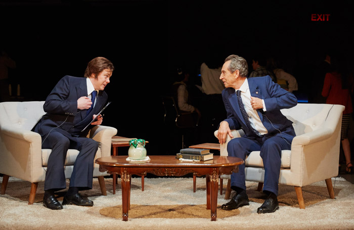 Daniel Rigby and Jonathan Hyde in Frost/Nixon at Crucible Theatre, Sheffield. Photo: Mark Douet