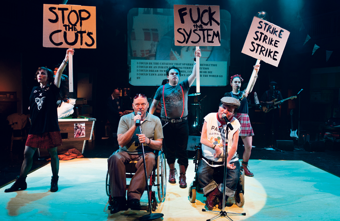 Garry Robson (centre) performing in Graeae's Reasons to Be Cheerful in 2010. Photo: Patrick Baldwin