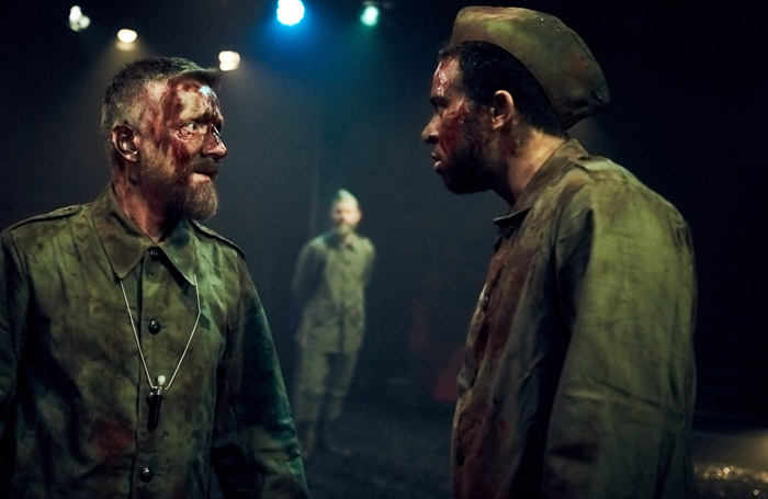 Jonathan McGuinness and Aaron Anthony in Macbeth at Tobacco Factory Theatre, Bristol. Photo: Mark Dawson