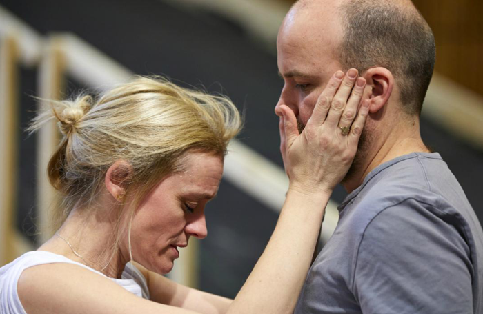 Anne-Marie Duff and Rory Kinnear in rehearsals for Macbeth. Photo: Brinkhoff/ Moegenburg